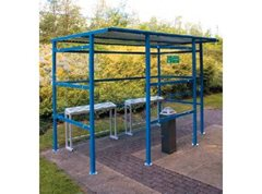 9 Person Smoking Shelter with Clear Perspex Back