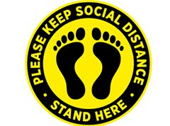 Social Distance Stand Here Floor Stickers (Pack of 10)