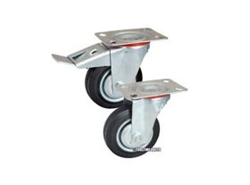Set of 4 200mm Swivel Castors (Braked & Non Braked)