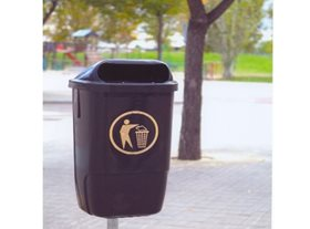50L Post Mounted Litter Bin - Black
