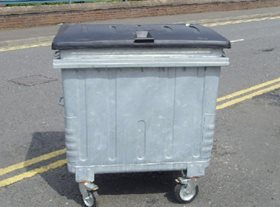 1100 Litre Galvanised Wheeled Bin with Flat Duraflex Lid